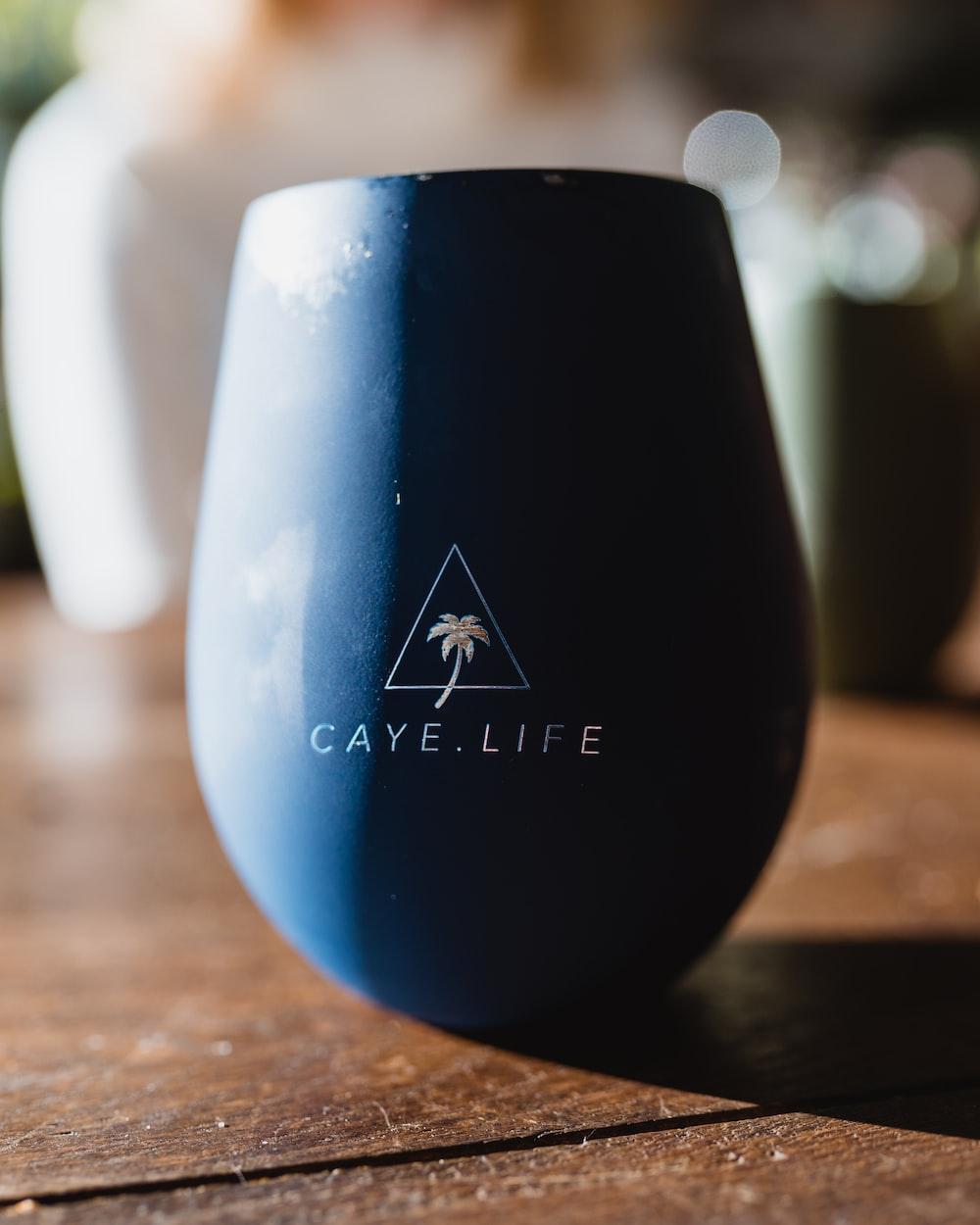 black and blue ceramic vase