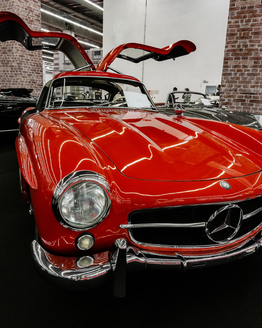 red Mercedes-Benz vehicle