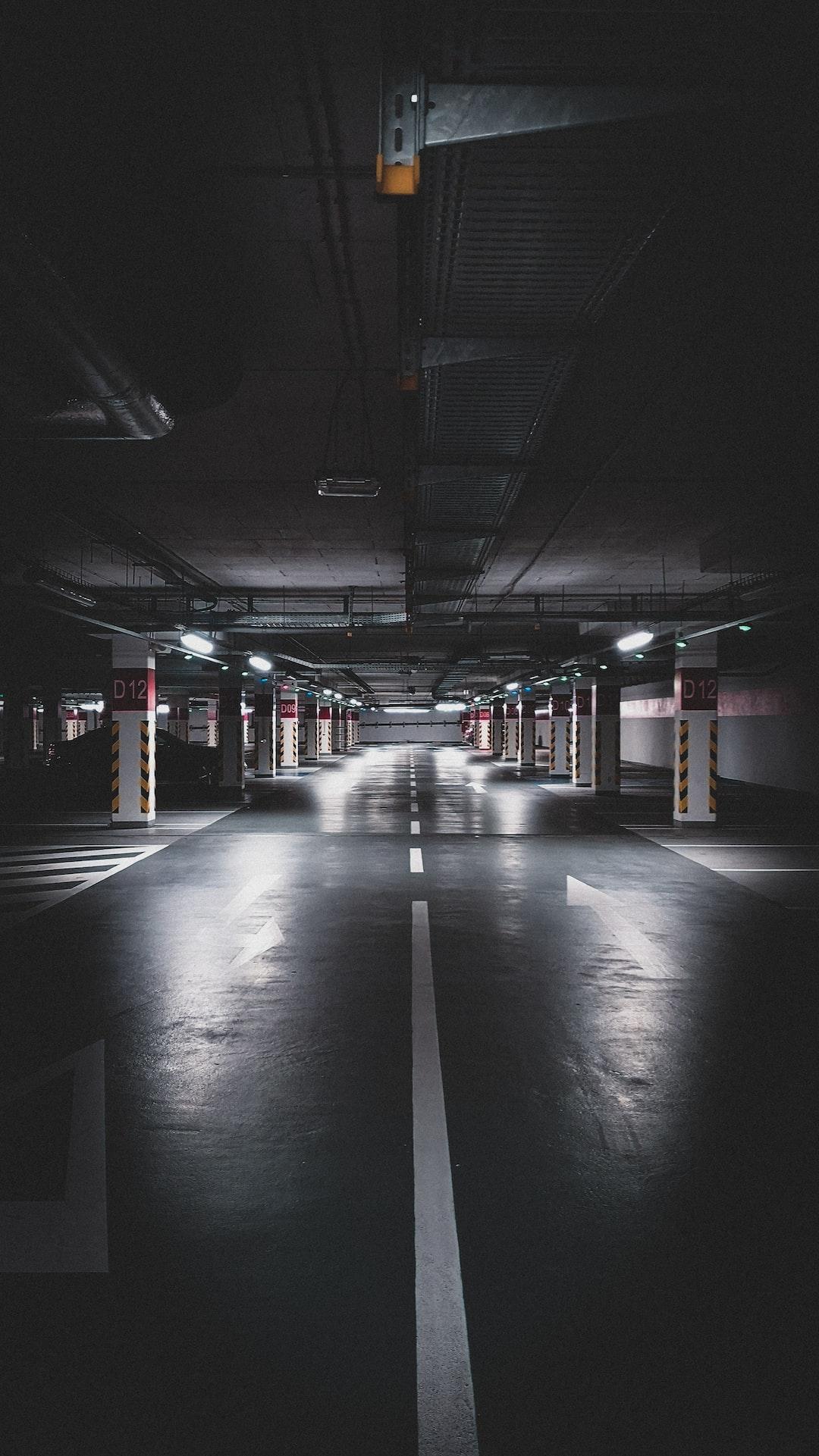 Underground parking. Empty. Scary. Dark.