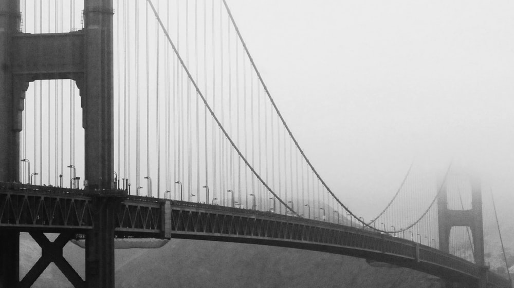 grayscale photography of Golden State Bridge