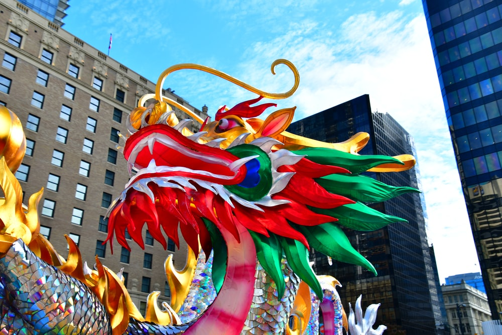 red and green dragon statue