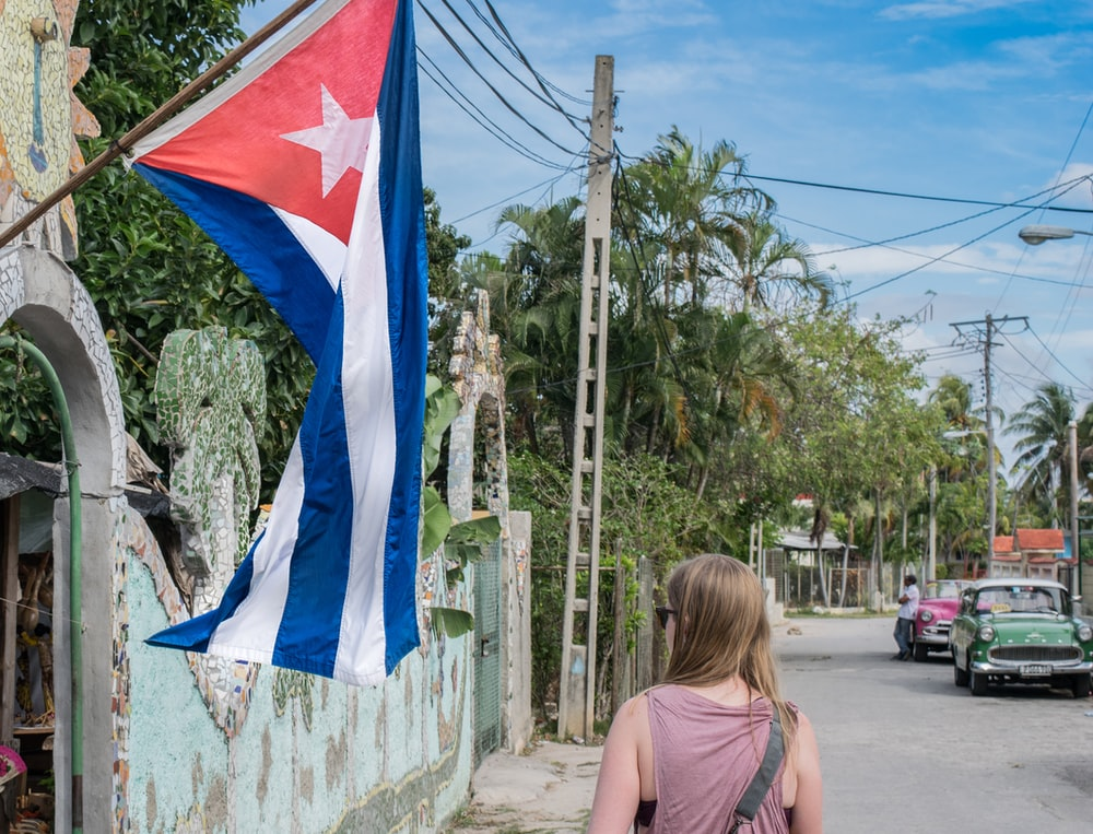 woman near flag