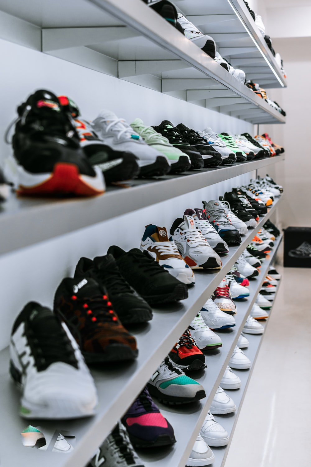assorted-color shoe display