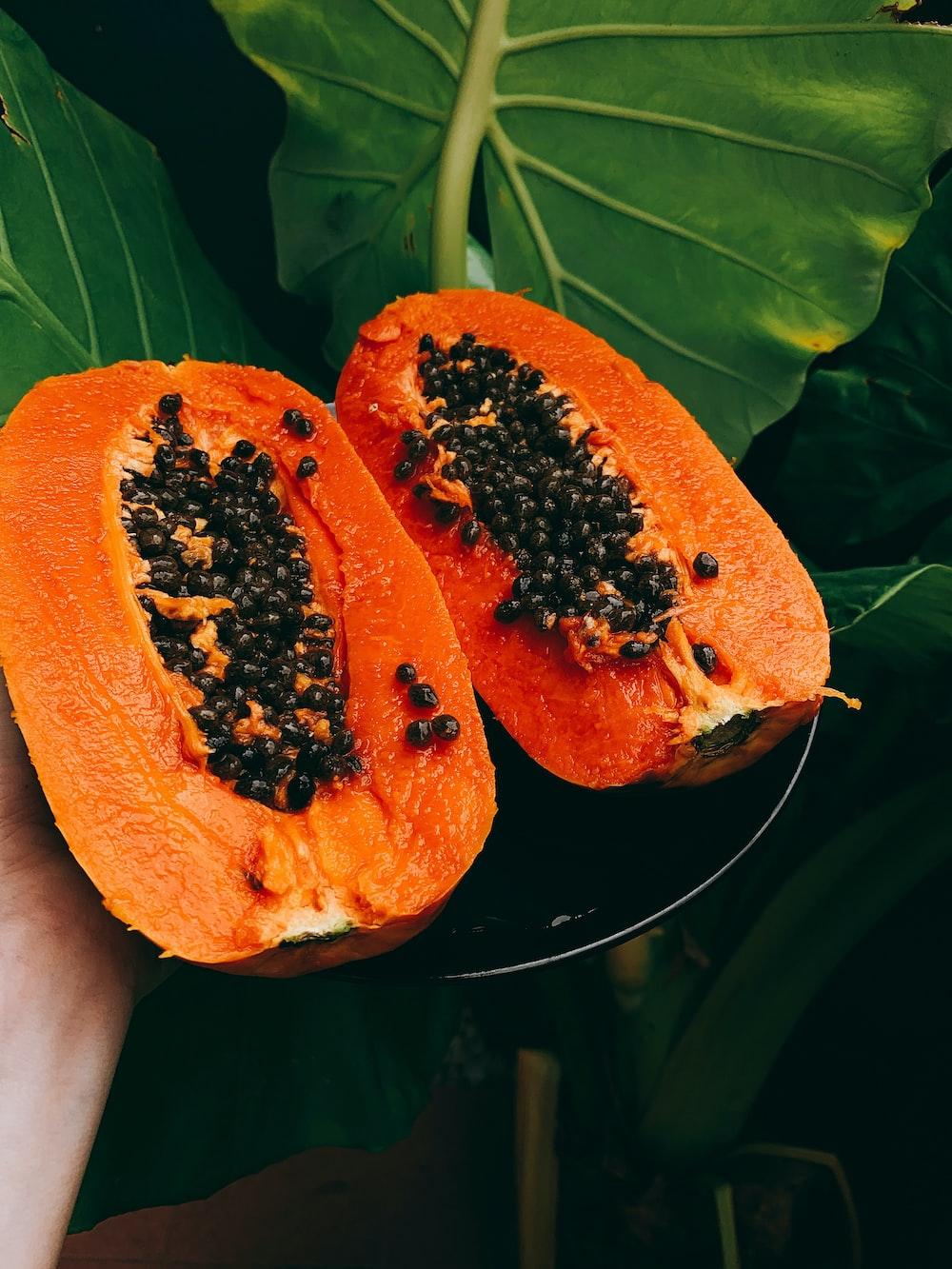 sliced papaya fruit