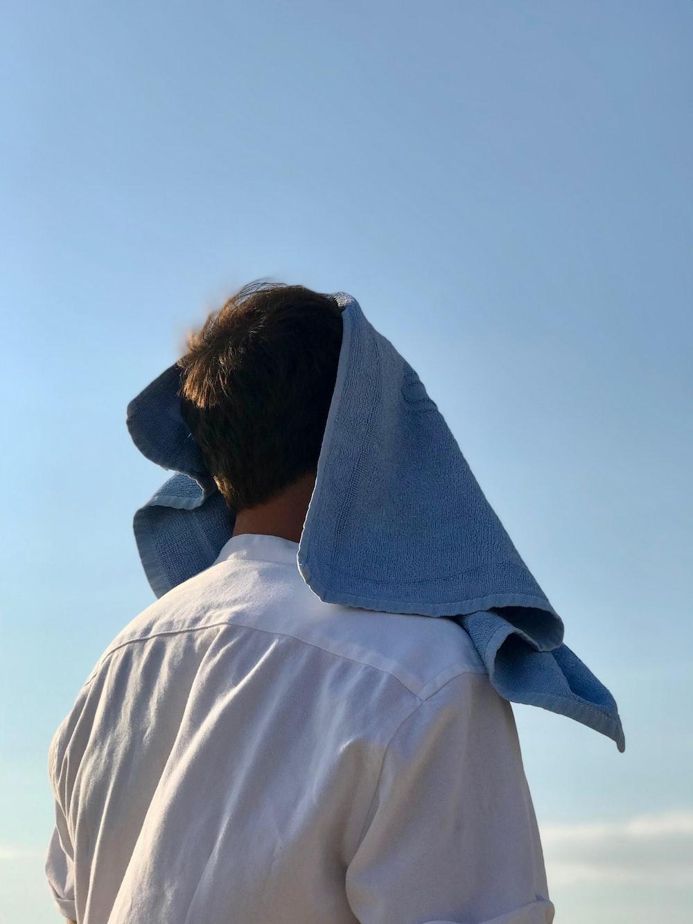 men's blue bath towel