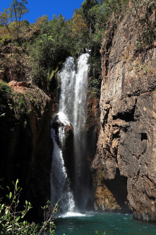 waterfalls on rock