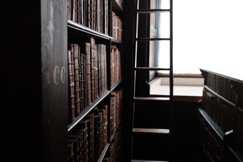 different books in book shelf