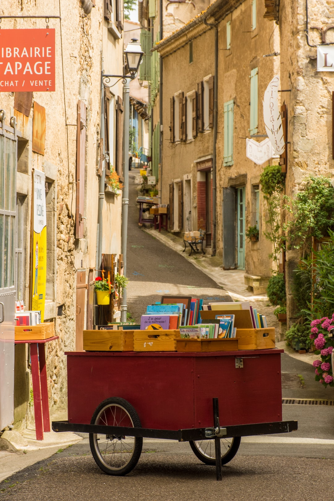Streets in Montolieu, book towns of France