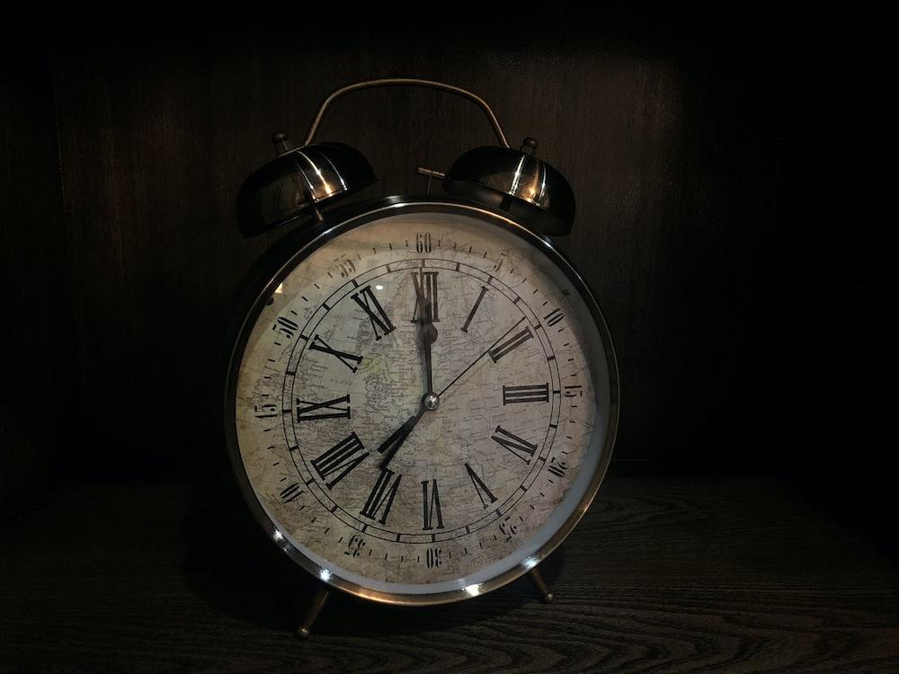 stainless steel analog alarm clock