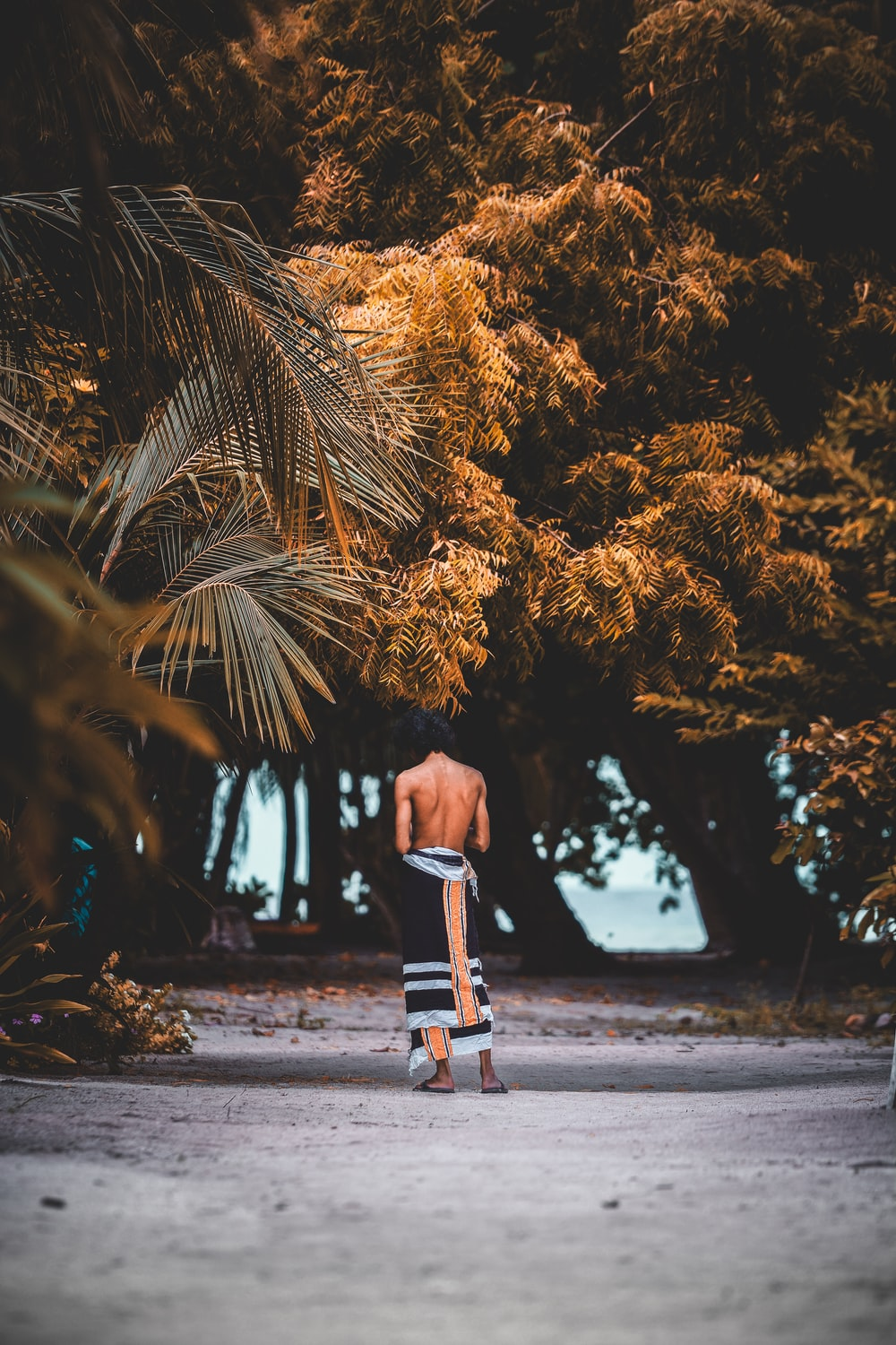 topless man with scarf wrapped around his body stands near trees