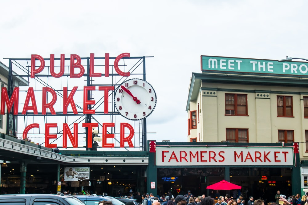 people in public market center