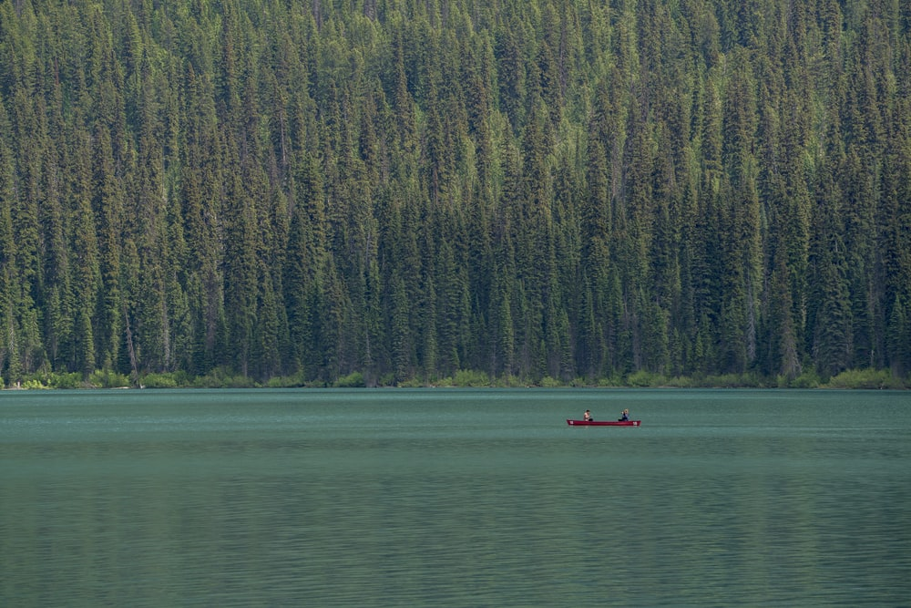 photo of people riding on red canoe boat onm lake