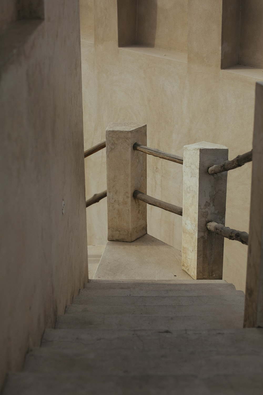 empty beige concrete stairs