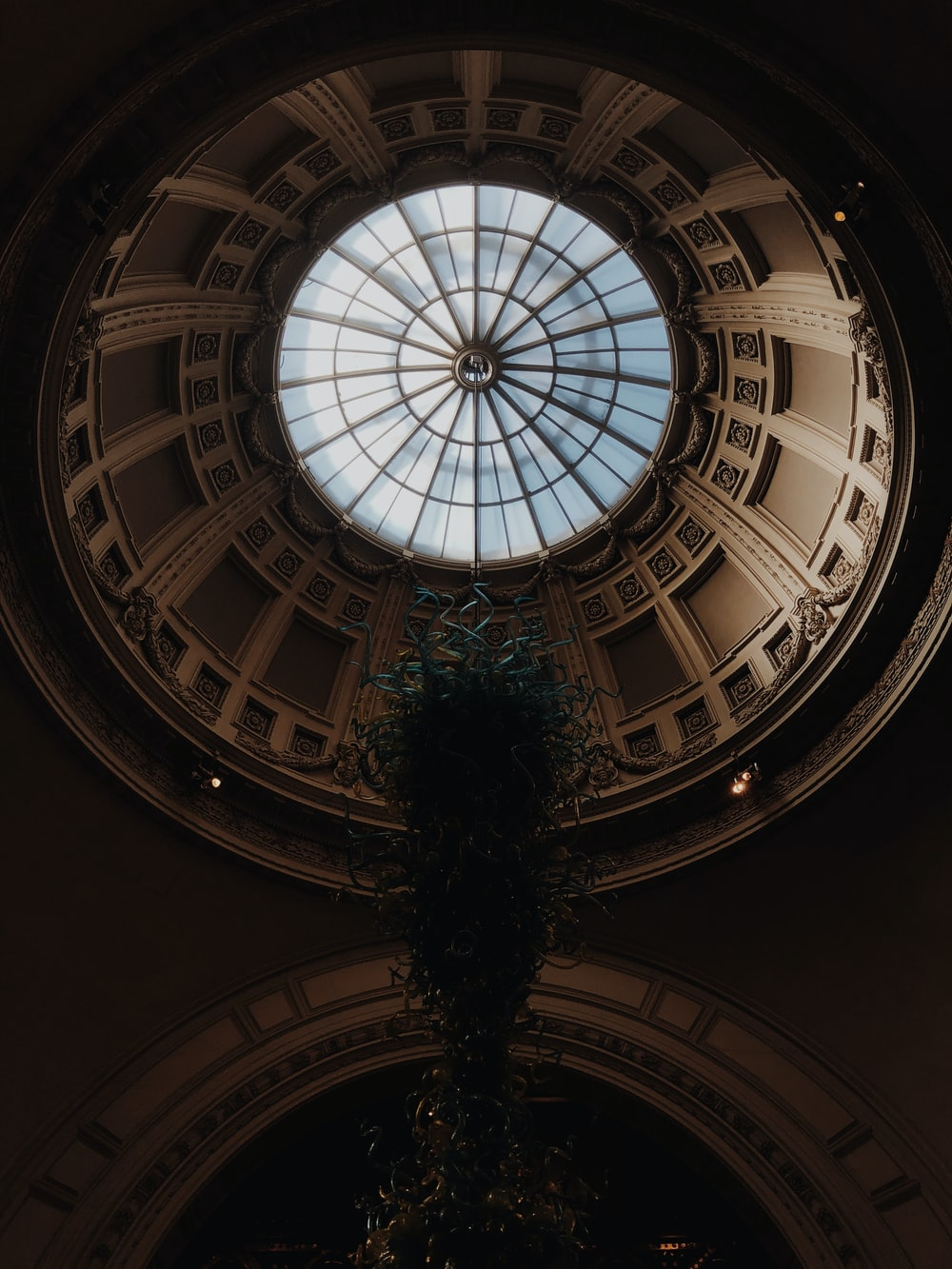 low-angle photography of ceiling of dome building