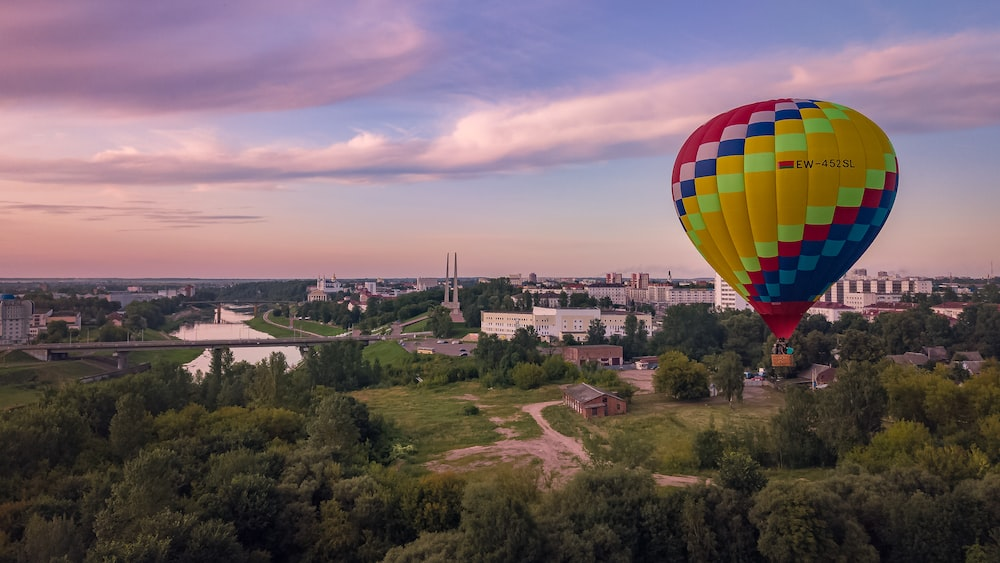 red ,yellow, blue, and white hot air balloon