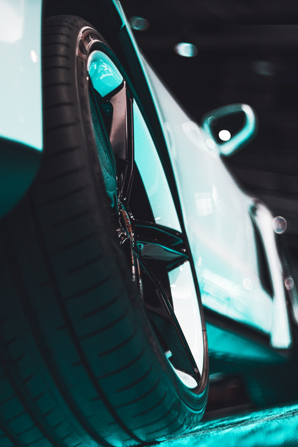close view of vehicle wheel and tire