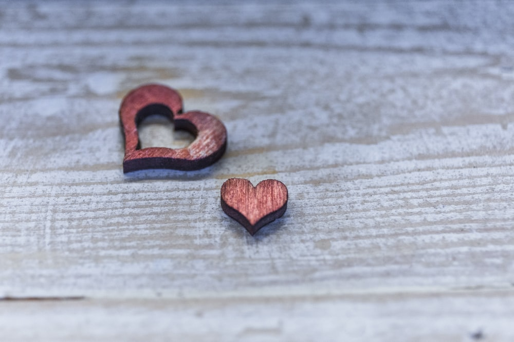 two red hearts cutout