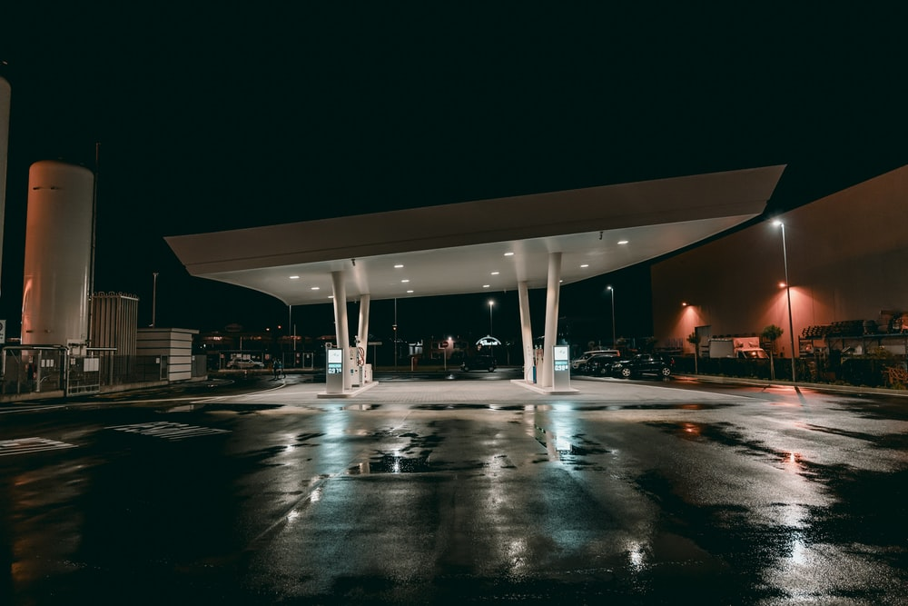 gas station during night