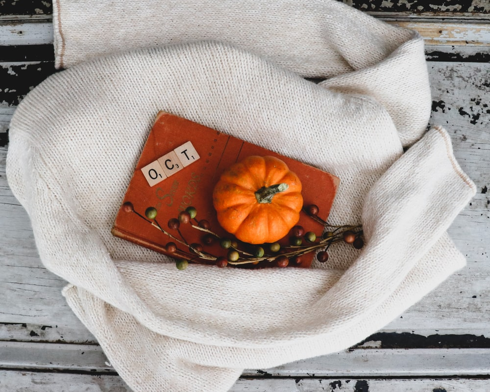 round orange pumpkin card on gray apparel