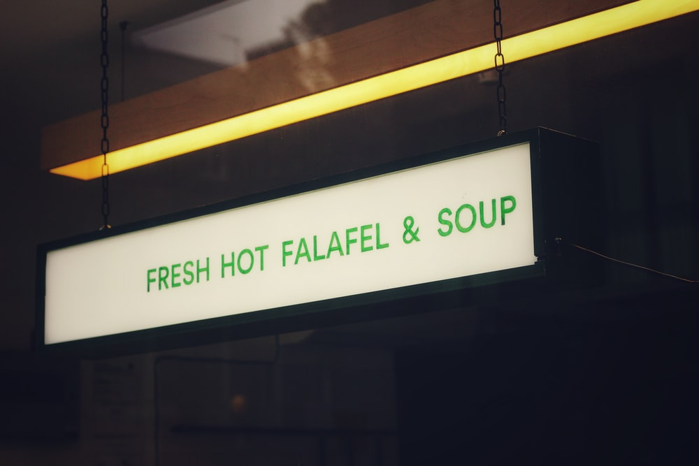 fresh hot falafel and soup neon signage