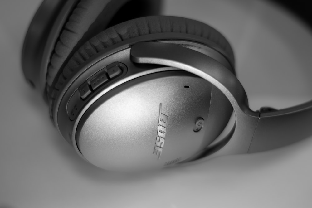 grey Bose wireless headphones