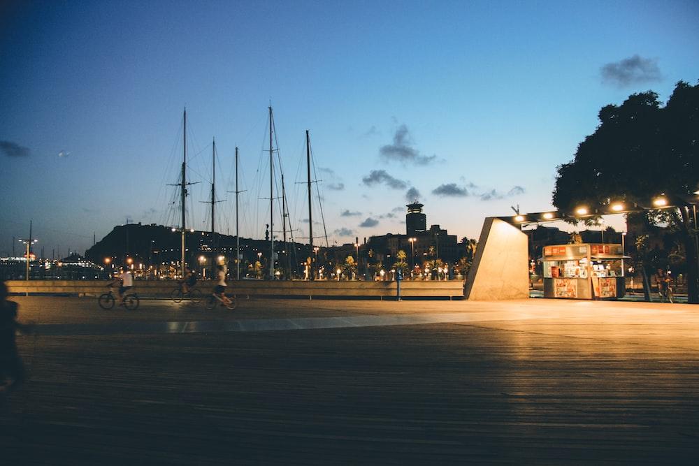 grey boat during at night