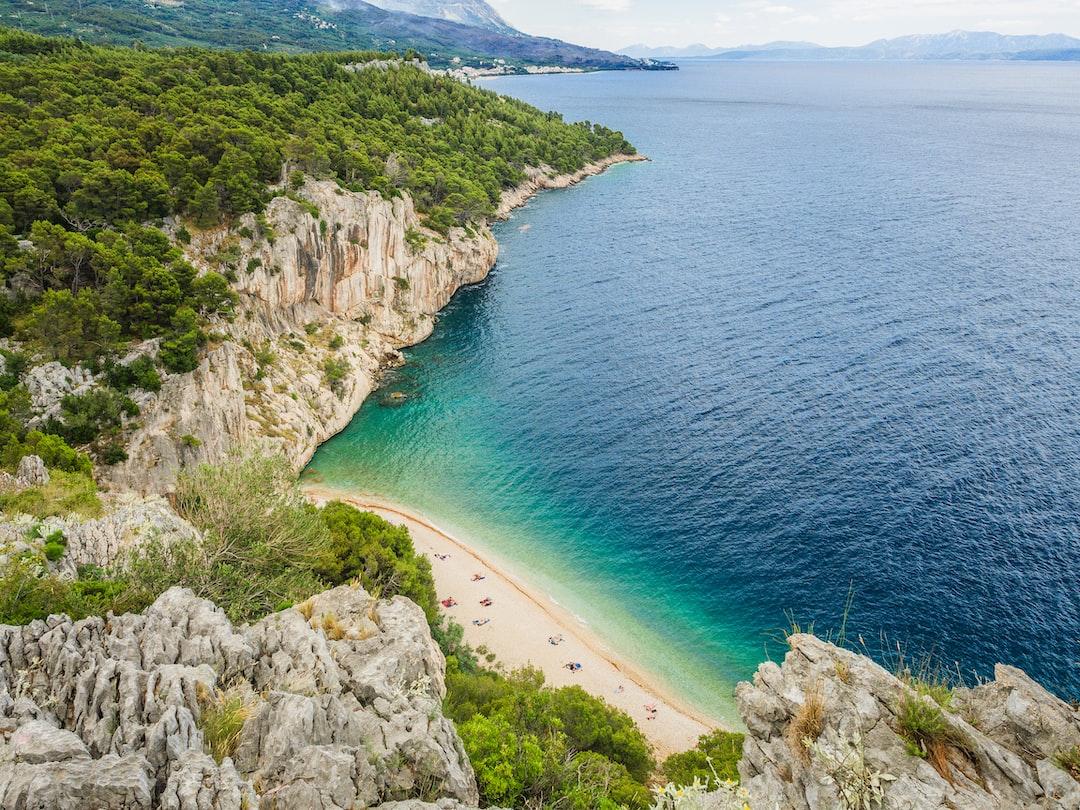 beautiful natural beach beach in Croatia from above
