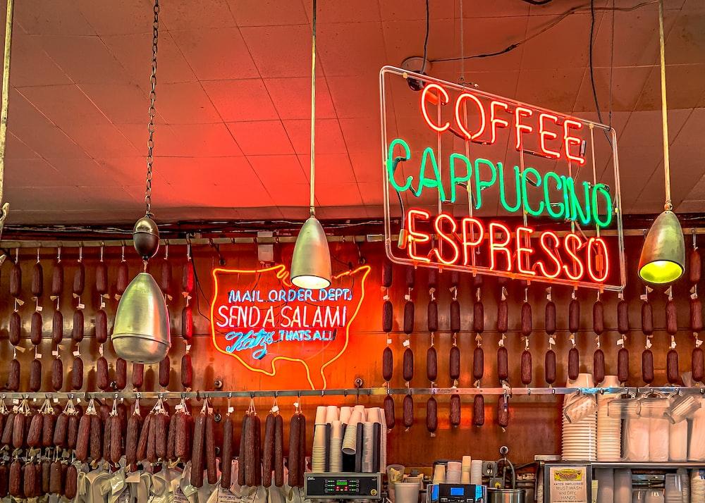 red interior coffee shop