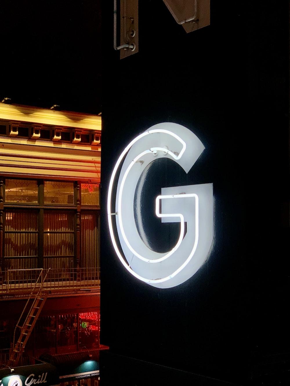 blue G LED signage