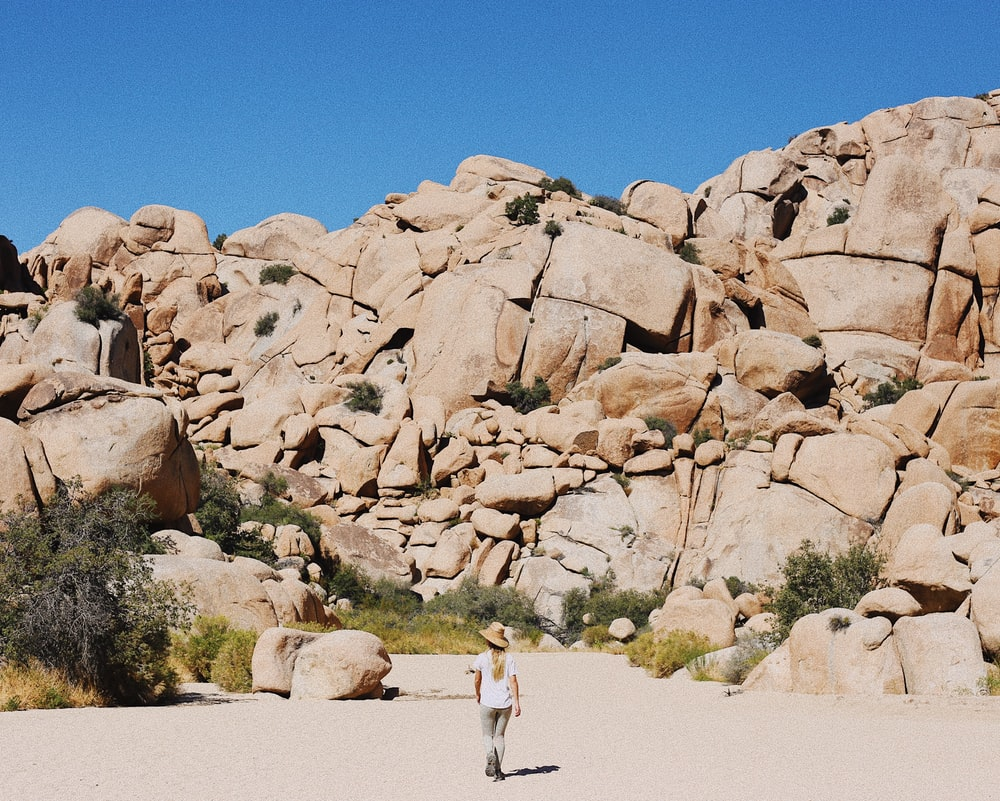 woman standing facing on rock formation during daytime