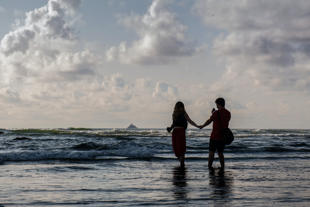silhouette of two people holding hands at seashore