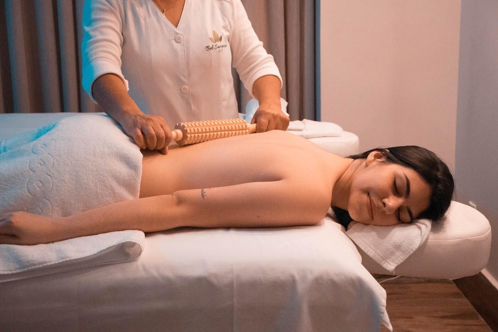 woman massaged