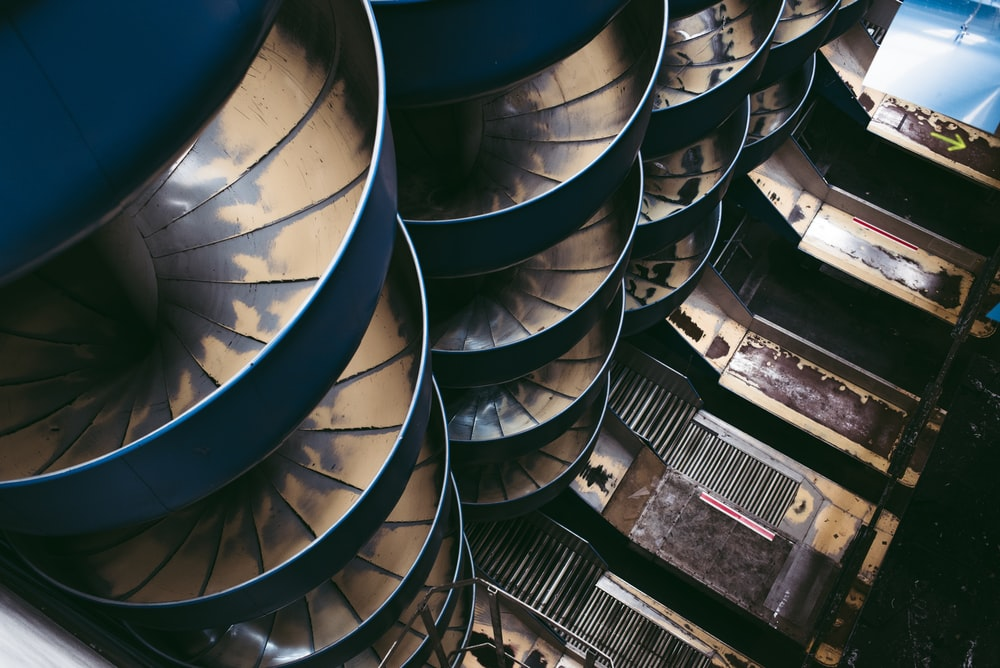 spiral ladders aerial view photo