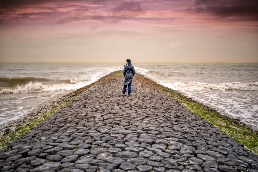 person standing on pathway between body of waters