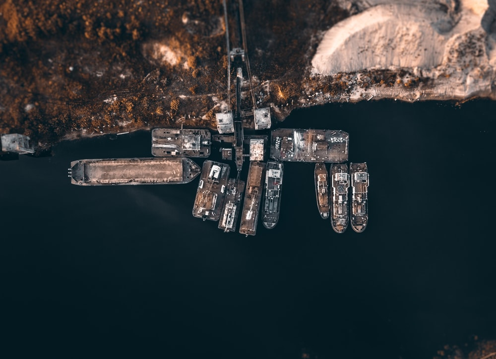 aerial photo of boats