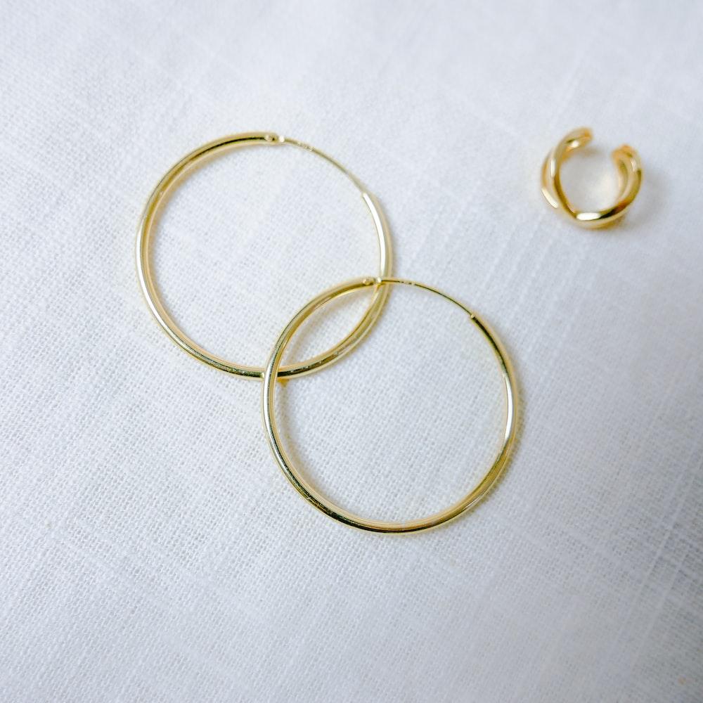 gold-color hoop earrings