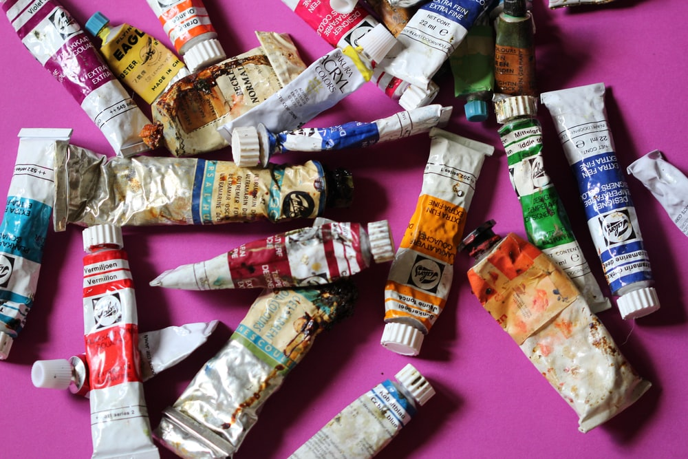 assorted painting tubes