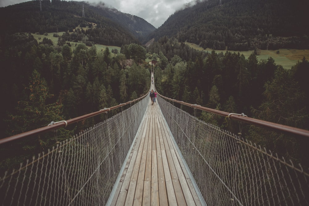 people in the middle of hanging bridge