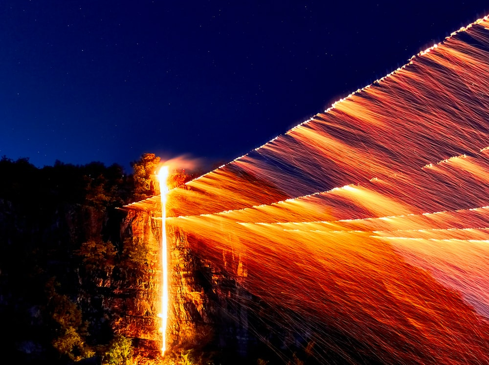 still wool photography of burning wires