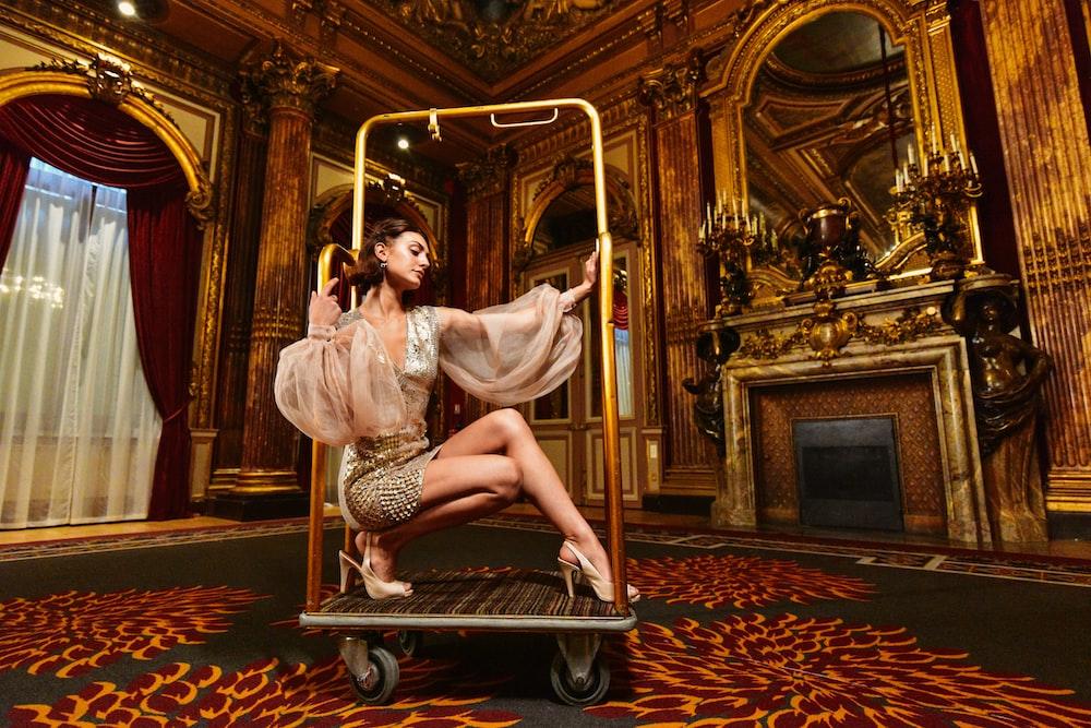 woman on platform cart