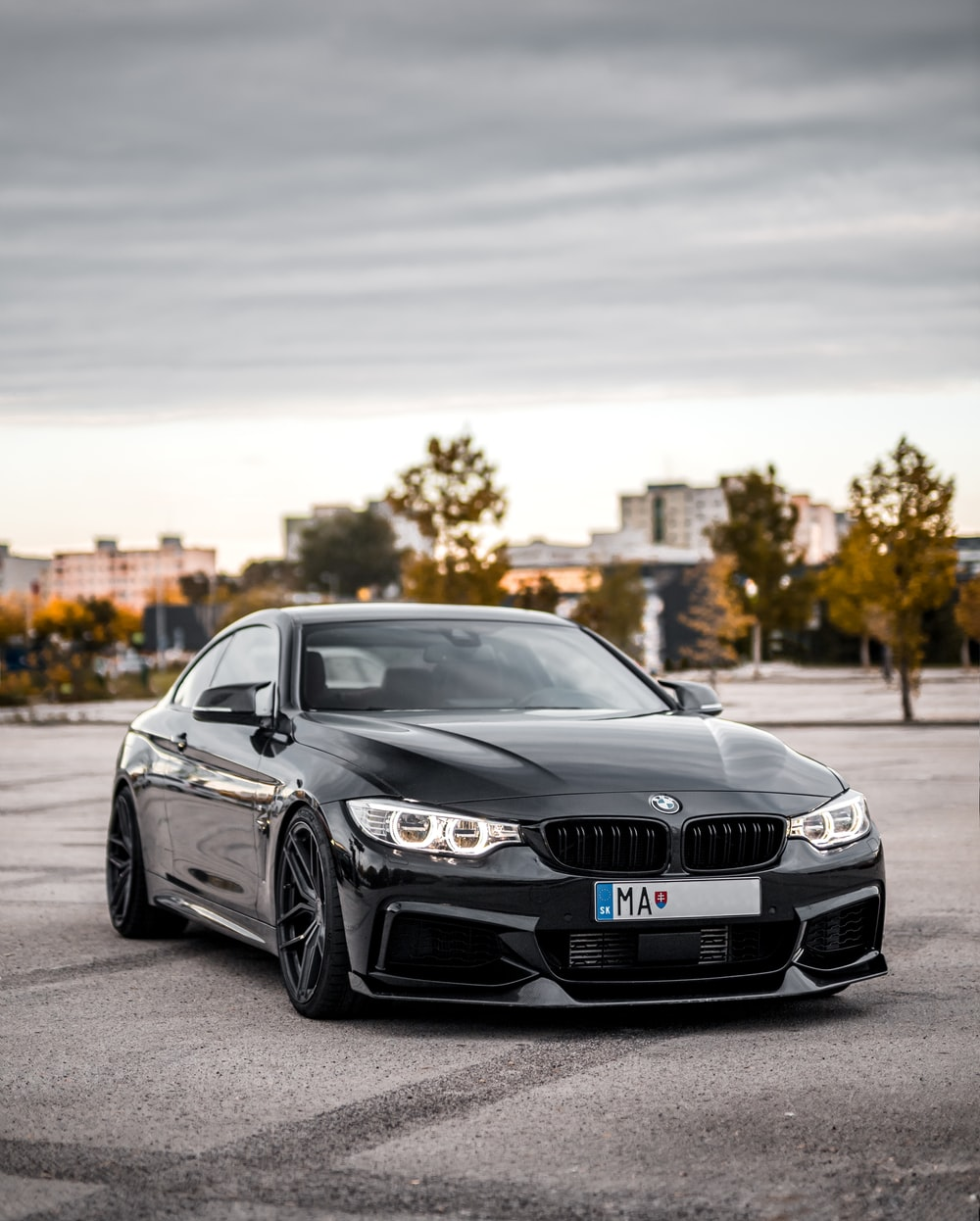 parked black BMW coupe