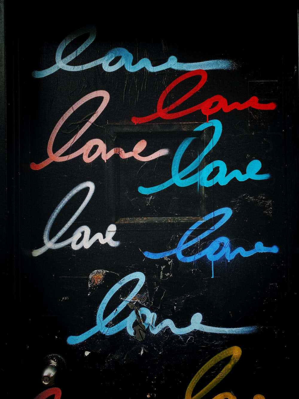 red and blue love texs