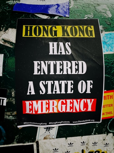 Hong Kong has entered a state of Emergency sign