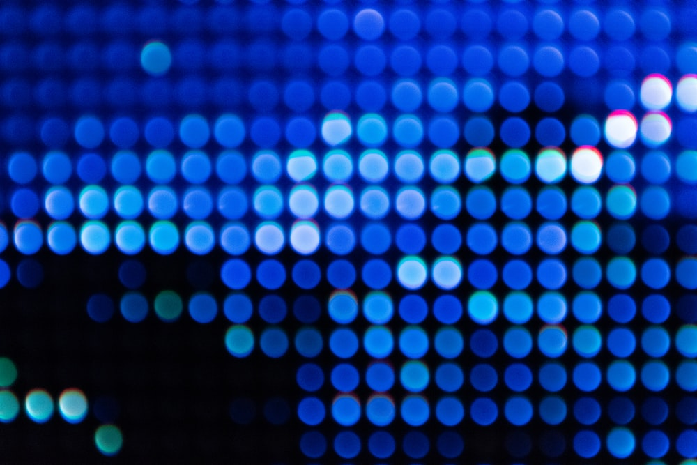 bokeh photography of blue lights