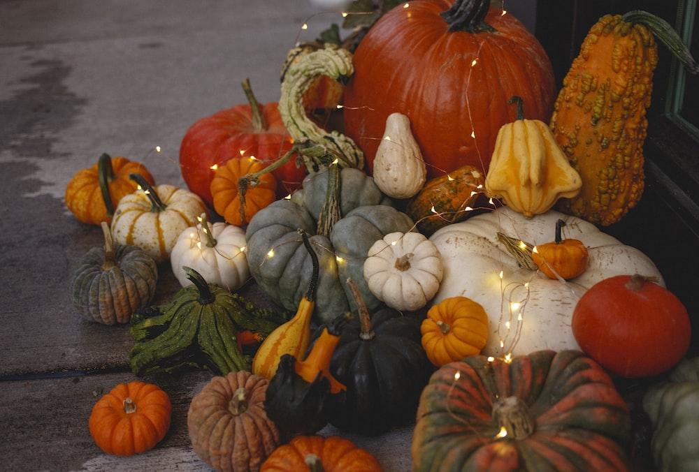 assorted-color pumpkins