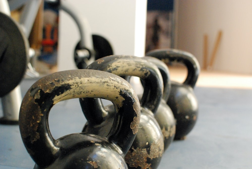 kettle bells on floor