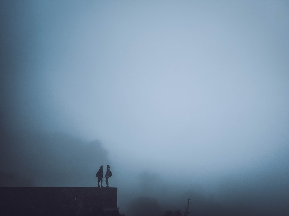 silhouette of two person standing on edge during foggy day