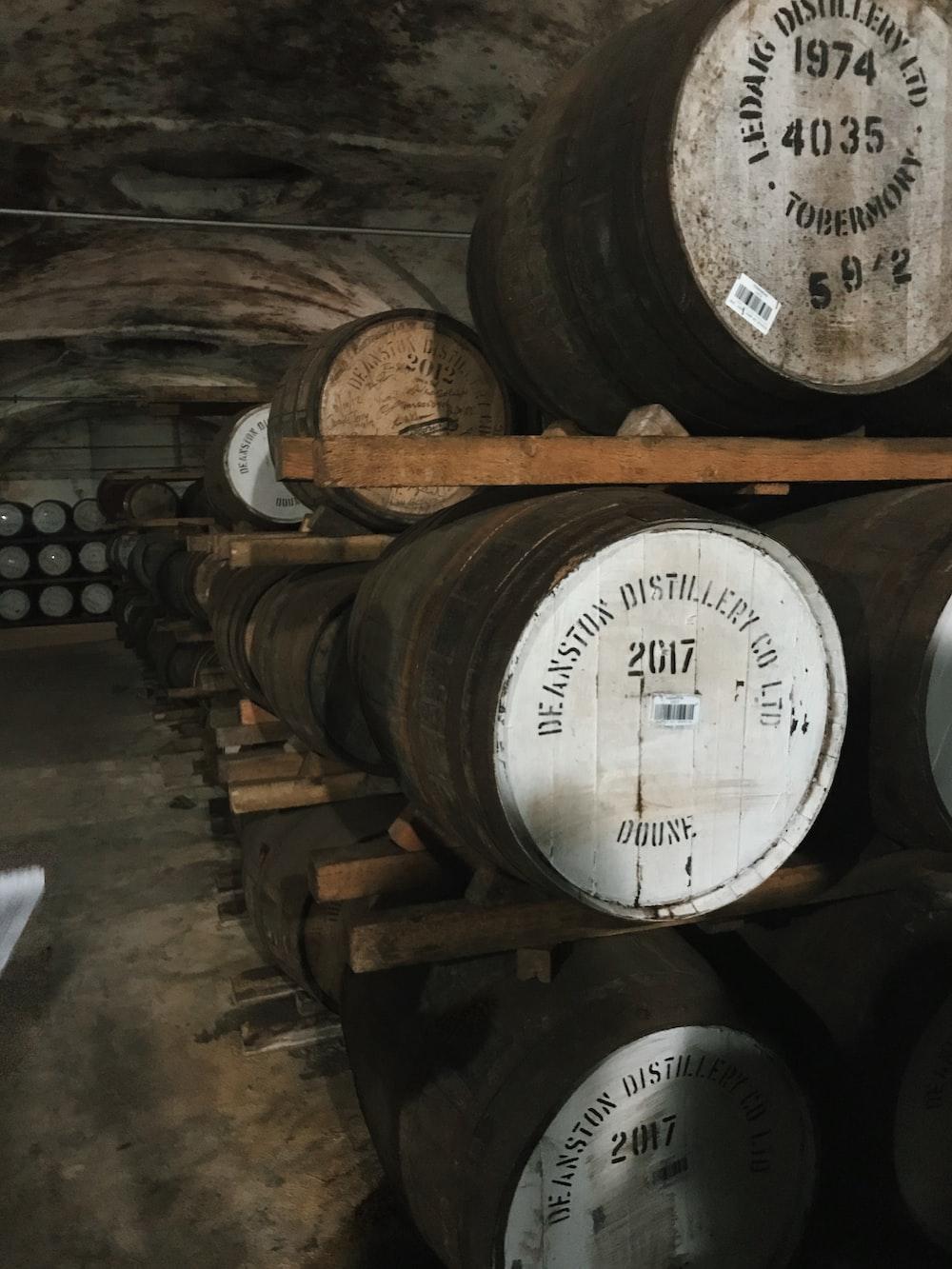 pile of oak barrels inside tunnel