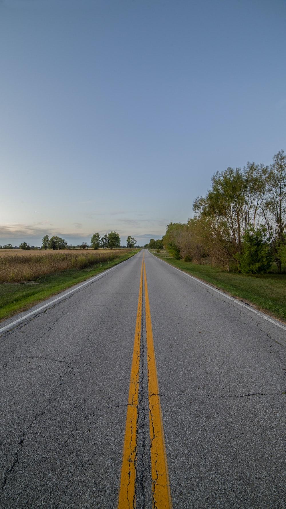 gray concrete road near green grass field
