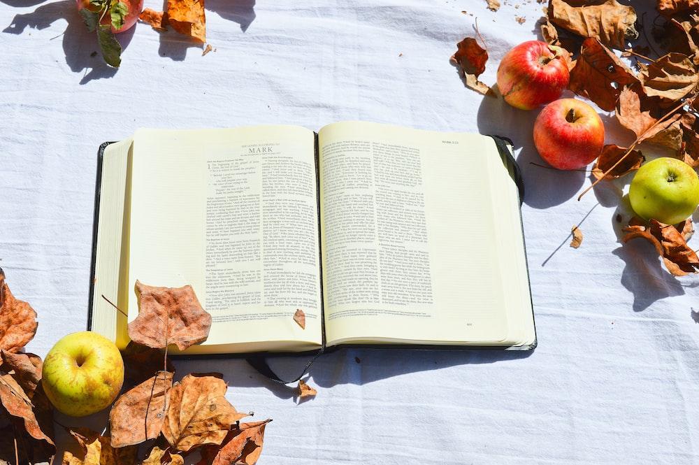 opened white book beside apples